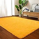 LOCHAS Ultra Soft Indoor Modern Area Rugs Fluffy Living Room Carpets for Children Bedroom Home Decor Nursery Rug 5.3x7.5 Feet, Orange