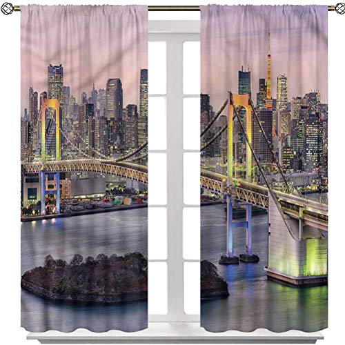 YUAZHOQI Cityscape Blackout Curtain, Tokyo Japan Bridge, Set of two Panels 84 Inches Lengthy Window Remedy Custom-made Curtains