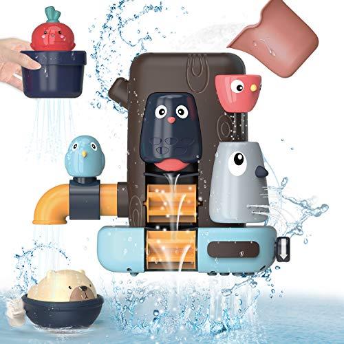 REMOKING Badespielzeug Set für Baby Kinder, Multifunktionales Badewannenspielzeug, Kleines Vogelbaumhaus, Bär und Rettich, Geschenke für Jungen und Mädchen