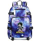 GOYING My Hero Academia Deku/Midoriya Izuku Anime Cosplay Bookbag College Bag Mochila Mochila Escolar con Puerto de Carga USB-A