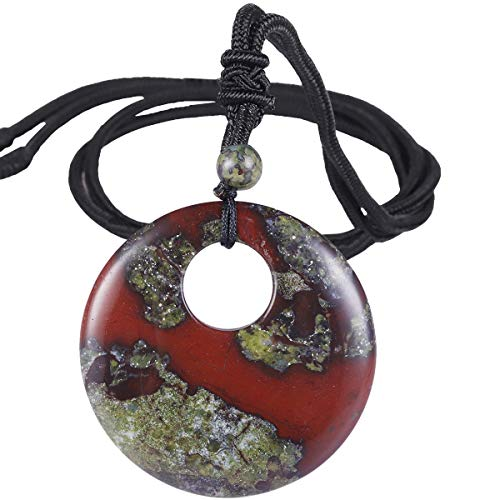 SUNYIK Natural Dragon Bloodstone Lucky Coin Pendant Necklace...