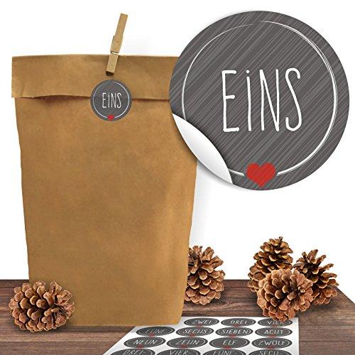 Adventino Adventskalender 24 Kraftpapiertüten mit 24 weihnachtlichen Aufklebern Schick und Grau zum...
