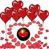 HOWAF 12pcs Rouge Ballons de Coeur 18 Pouces, 100pcs Bougies Coeur Romantiques, 500Pcs Rouges Rose Pétales pour Saint Valentin Mariage Fiançailles Décoration...