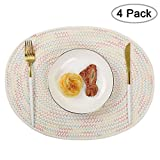 Homcomoda Cotton Placemats Heat Resistant Anti-Skid Placemat Set of 4 Woven Washable Oval Place Mat Stain Resistant Table Mats for Dining Table