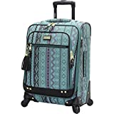 Steve Madden Designer Luggage Collection - Lightweight Softside Expandable Suitcase for Men & Women - Durable 20 Inch Carry On Bag with 4-Rolling Spinner Wheels (Legends Turquoise)