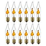 Sunlite 01506-SU Petite Chandelier Flicker Flame Light Bulb Candelabra Base E12, Clear, 12 Pack