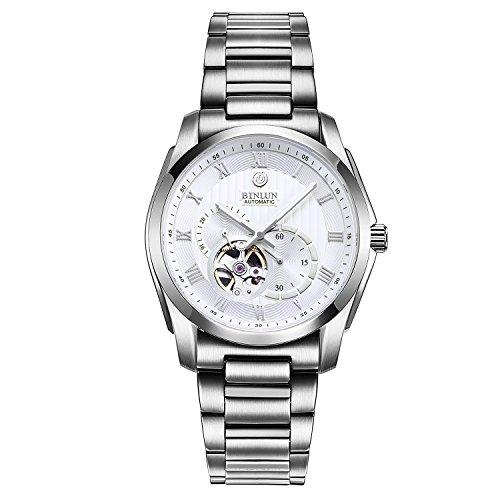 BINLUN Automatische Herrenuhr Sport Chronograph Armbanduhren für Herren Lässig Edelstahl Armbanduhr mit Kalenderdatum - Silber