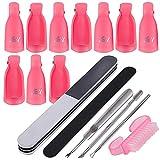 10pcs Clip Uñas de Plastico Pinzas Manicura para Uñas de Gel Removedor de Esmaltes Nail Art Soak Off Clip + Kit 6pcs Herramienta de Manicura...
