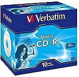 Verbatim Music CD-R 80 Min I 10er Pack Jewel Case I CD Rohlinge I 16-fache Brenngeschwindigkeit mit langer LebensdauerI leere CDs I Audio CD Rohling zum Sichern von Musik I Music CD