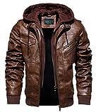 YYZYY Homme à Capuche Veste Automne l'hiver Simili Cuir Biker Moto Style Blousons Manteau Men Leather Hooded Jacket (Brown,XL)