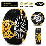 soyond Car Snow Chains 6 Pcs Emergency Tire Chains for Pickup Trucks Anti Slip Snow Chains for SUV Automotive Exterior Accessories Tire Chains(Tire Width 6.4-10.9' 165-275mm) (Natural Yellow)
