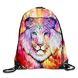 uykjuykj Bolsos De Gimnasio,Mochilas,Drawstring Backpack Rucksack Shoulder Bags Gym Bag Travel Backpack Geometric Lines Color lion5 Lightweight Unique 17x14 IN