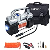GSPSCN Portable Digital Car Tire Inflator with Gauge 150Psi Auto Shut-Off, Heavy Duty Double Cylinders 12V Air Compressor Pump with LED Light for Auto,Truck,Car,Bicycles,RV,SUV,Balls etc.
