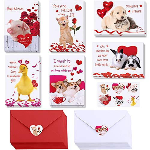 48 Sets Valentine's Day Cards Assortment Blank Corgi Dog Cat Pet Valentine Cards Bulk Cute Animal Love Note Cards Thank You Cards with Envelopes Heart Stickers for Her Him Anniversary Kids Classroom