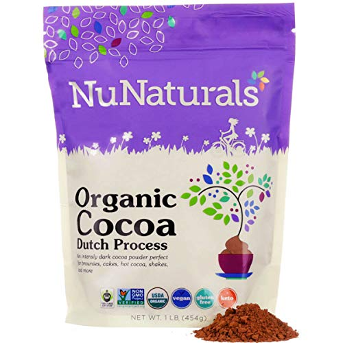 NuNaturals Premium Organic Cocoa Dutch Process Powder for Baking | Non-GMO | Fair Trade | 1 LB