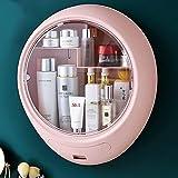 Maquillaje Organizador montado en la pared con puerta transparente a prueba de polvo de 3 capas de alta capacidad adhesiva baño de joyería cosmética de almacenamiento, 1 cajón, azul ( Color : Rosado )