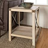 Walker Edison Furniture Company Rustic Modern Farmhouse Metal and Wood Square Side Accent Living Room Small End Table, 18 Inch, White Oak