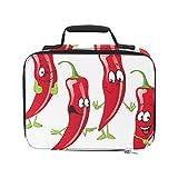 Dibujos animados divertidos Chili Pepper Bolsas de compras con aislamiento Bolsas de almuerzo a prueba de fugas 9.51 × 3.15 × 7.48 pulgadas Compras de comestibles Bolsas de compras para el trabajo Pi