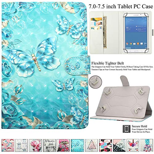 Universal 7.0-7.5 inch Tablet Case, Artyond PU Leather Folio Smart Cards Slots Case with Magnetic Closure Cover for Android, Windows,Kindle,Galaxy Tab & Other 7.0-7.5 inch Tablet (Wreath Butterfly)