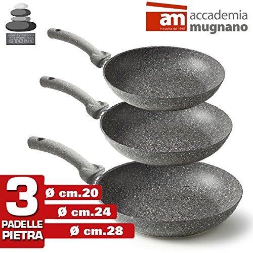 Accademia Mugnano - Set 3 Padelle in Pietra Antiaderenti Professionali Mineral Heart Stone (3 Pezzi)...