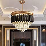 Crystal Ceiling Fan Chandelier Indoor Luxury Hiding Quiet 42 Inch Polished Gold Retractable Ceiling Fan Light LED 3 Color Setting, Remote Control (black)