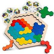 Coogam Hölzernes Sechseck-Puzzle - Form Block Tangram Denkaufgabe Spielzeug Geometrie Logik IQ Spiel STEM Montessori Pädagogisches Geschenk für alle Altersgruppen Herausforderung