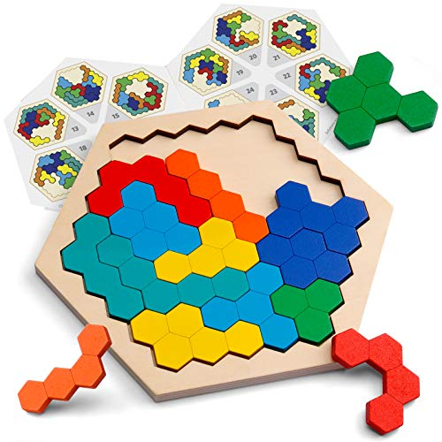 Coogam Wooden Hexagon Puzzle for Kid Adults - Shape Pattern...