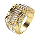 SPORTTIN Gold Rings for Men with Diamonds Stainless Steel Wedding Bands Hip Hop Pub Party...