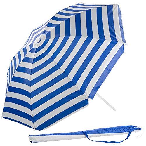 Royal Gardineer Strandschirm: 2-teiliger Sonnenschirm mit Sonnenschutz UV30+ und Tasche, Ø 160 cm (Sonnenschirm Strand)