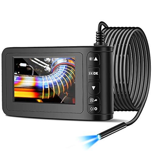 Endoscopio Industriale Telecamera di Ispezione Schermo a Colori da 4,3' 1080P 8mm Boroscopio Professionale IP68 Impermeabile con 6 luci a LED (5 m/16,4 piedi)