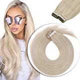 Sunny Tape in Hair Extensions 20 inch #60 Platinum Blonde Seamless...