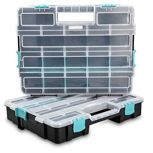Navaris Contenitore portaminuterie Organizzatore minuteria - 2x Cassetta a scomparti per attrezzi - Vaschetta Organizer arnesi piccoli oggetti - doppia