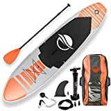 SereneLife Inflatable Stand Up Paddle Board (6 Inches Thick) with Premium SUP Accessories & Carry Bag   Wide Stance, Bottom Fin for Paddling, Surf Control, Non-Slip Deck   Youth & Adult Standing Boat