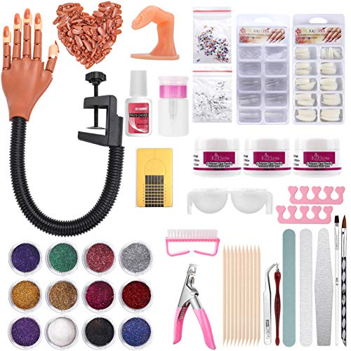 Practice Hand for Acrylic Nails, Nail Training Hand with Acrylic Nail, Nail Acrylic Powder and Glue, Nail Training Finger Brush Glitter File French Tips Nail Art Tools Professional Nail Starter Set