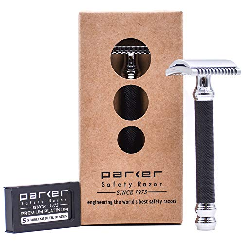 Parker 26C - Black Handle Three Piece OPEN COMB Double Edge Safety Razor & 5 Premium Double Edge Blades