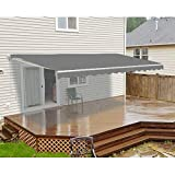Retractable Motorized Home Patio Canopy Awning 16 X 10 Feet Grey Metal Synthetic Fiber