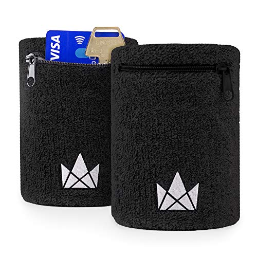 The Friendly Swede Zipper Sweatband with Pocket Wristband Ankle Wallet (2 Pack) (Black 16-21 cm)