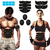 SPORTLIMIT Abs Stimulator Abdominal Trainer EMS Abs Toner Body Muscle Trainer Wireless Portable Fitness Workout Equipment for Men Woman Abdomen/Arm/Leg Home Office Exercise,8pcs Free Gel Pads