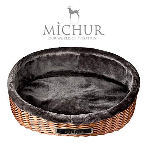 MICHUR Lounge, Hundekorb Rattan, Katzenbett Weide Braun, Hunde Sofa, Katzenkorb aus weide, Rattan, Natur, ca. 55cm - ca. 75cm …