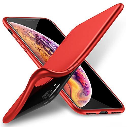 X-level Cover per iPhone XR,Custodia Protezione in Morbida Silicone TPU,Ultra Sottile e Anti-Graffio, Cover Ultra Slim per iPhone XR Anti Scivolo(6.1 Pollici)-Rosso