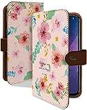 らくらくスマートフォン F-42A ケース 手帳型 携帯ケース 大花柄 総柄 ピンク 花 フラワー お……