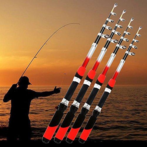 Canna da pesca, 1.8m 2.1m 2.4m 2.7m 3.0m portatile telescopica canna da pesca in fibra di vetro canna da pesca da viaggio canna da pesca in mare 1,8 m Come da immagine