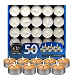 Ohr Tea Light Candles - 50 Bulk Pack - White Unscented Travel, Centerpiece, Decorative Candle - 4...