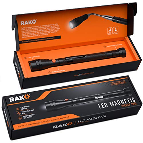 RAK Magnetic Pickup Tool with LED Lights - Telescoping Magnet Pick Up Gadget Tool - Unique Christmas Gift for Men, DIY Handyman, Father/Dad, Husband, Boyfriend, Him, Women