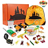 Kids Explorer Kit 27 Pcs, Outdoor Adventurer Exploration Equipment, Children's Binoculars, Flashlight, Compass, Magnifying Glass, etc. Great Educational Gift for Boys & Girls Camping, Hiking Pretend