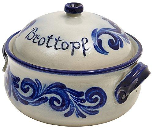 vivApollo Brottopf Brotkasten salzglasiertes Steinzeug Keramik Ton Original westerwälder Kannenbäckerland Echte Handarbeit aus Deutschland MM Form geblaut