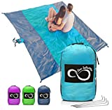 Sand Free Beach Blanket- 7 Person 9' x 10' Sand Proof Mat – Travel Friendly For Festivals & Hiking- Extremely Soft Quick Drying Heat Resistant Nylon- 4 Anchor Loops & Stakes Purple Middle
