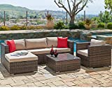 SUNCROWN Outdoor Patio Furniture Sectional Sofa and Chair (6-Piece Set) All-Weather Brown...