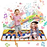 Music Mat Toy for Kids Toddlers Age 1-8 Years Old, 19 Piano Key Playmat Touch Play Game Dance Blanket Carpet Mat with Record, Playback, Demo, Adjustable Vol, Educational Toys for Girls Boys, 43'X14'