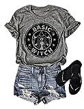 OUNAR Basic Witch T-Shirt Funny Women Short Sleeve Tee Hocus Pocus T-Shirt Graphic Top Size US XXL (Grey)